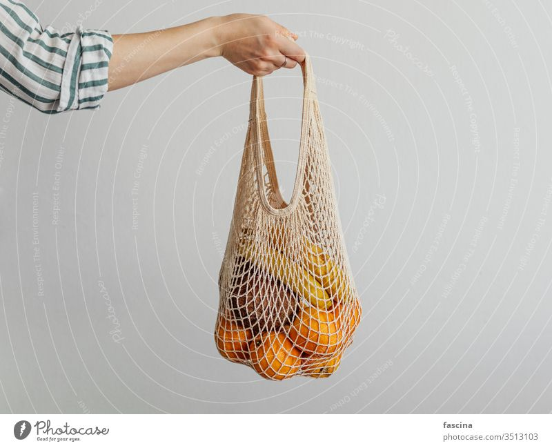 Woman Handle Net pouch intertwine Bag no waste nil fruits Shoulder Shopping Easygoing Style Modern concept weave String grocery store Reusable Food Markets Café
