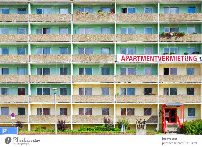 Platte Apartment Letting Symmetry Architecture Facade Prefab construction Structures and shapes Balcony Style Colour scheme Word upper-case letters Statue