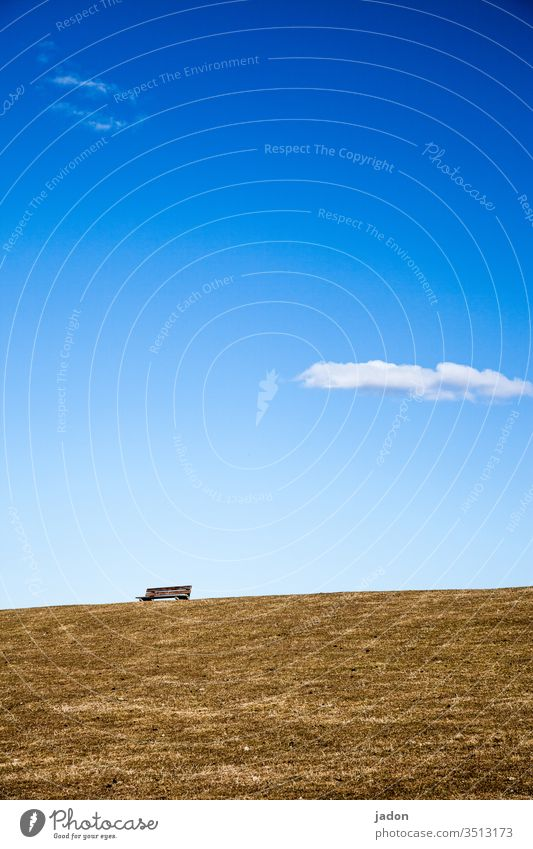 protruding bench in the grass under blue sky and white clouds. Bench Exterior shot Deserted Colour photo Day green Loneliness Nature Landscape Grass Environment