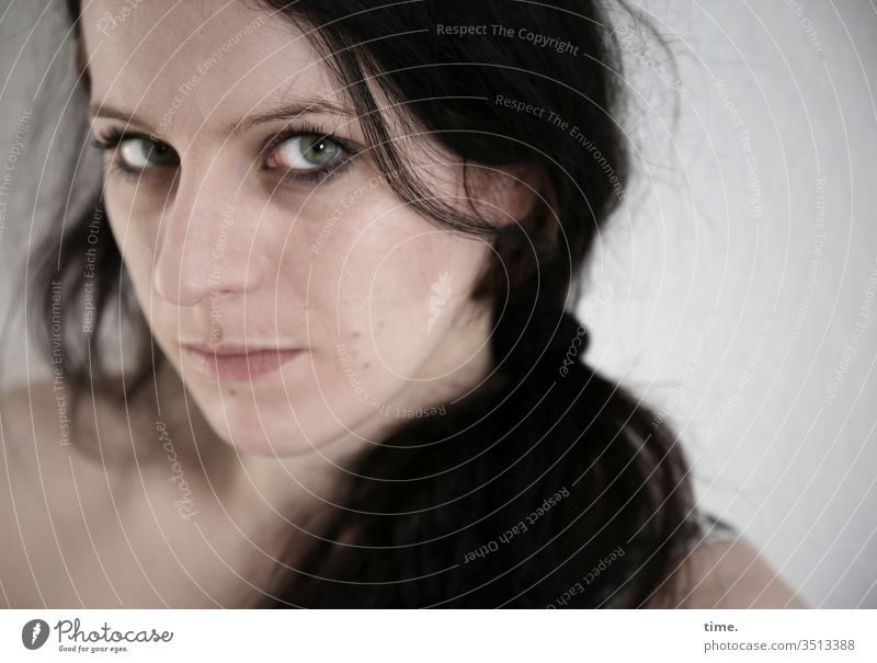 annika Dancer artist actress Forward Half-profile portrait Interior shot Inspiration Life Watchfulness Self-confident Observe Feminine Wait melancholy braid