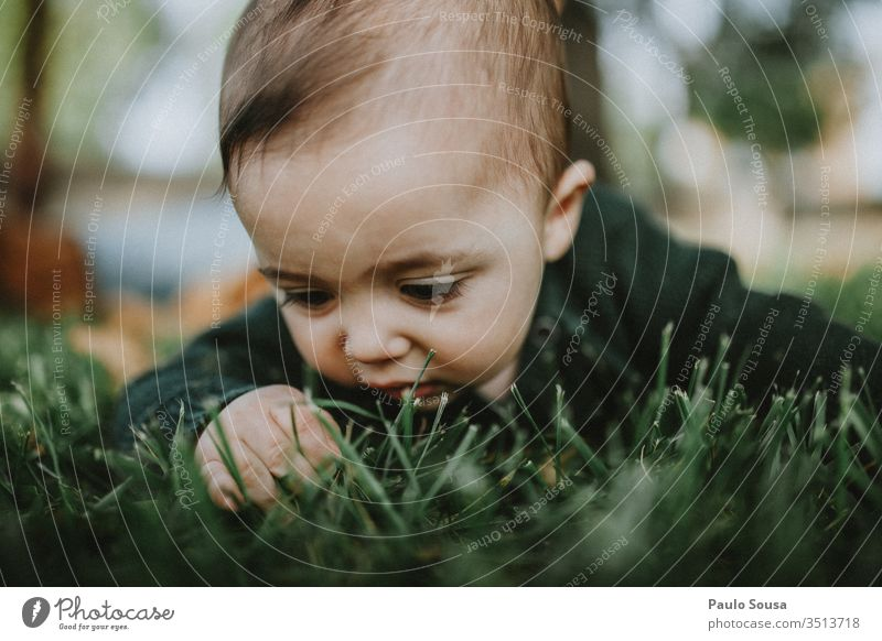 Close up baby touching grass Baby Grass Nature Green Wild Cute Portrait photograph babyhood Lifestyle 0 - 12 months Infancy Human being Colour photo Child
