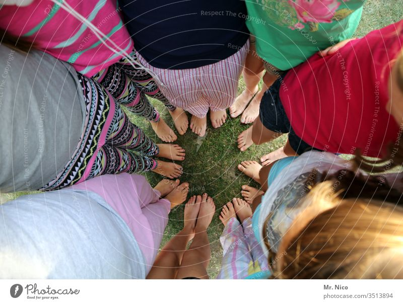 We stand together foot Barefoot feet Summer Peer pressure Circle Multiple Youth (Young adults) Leisure and hobbies Clique Attachment Related Trust Legs Teamwork