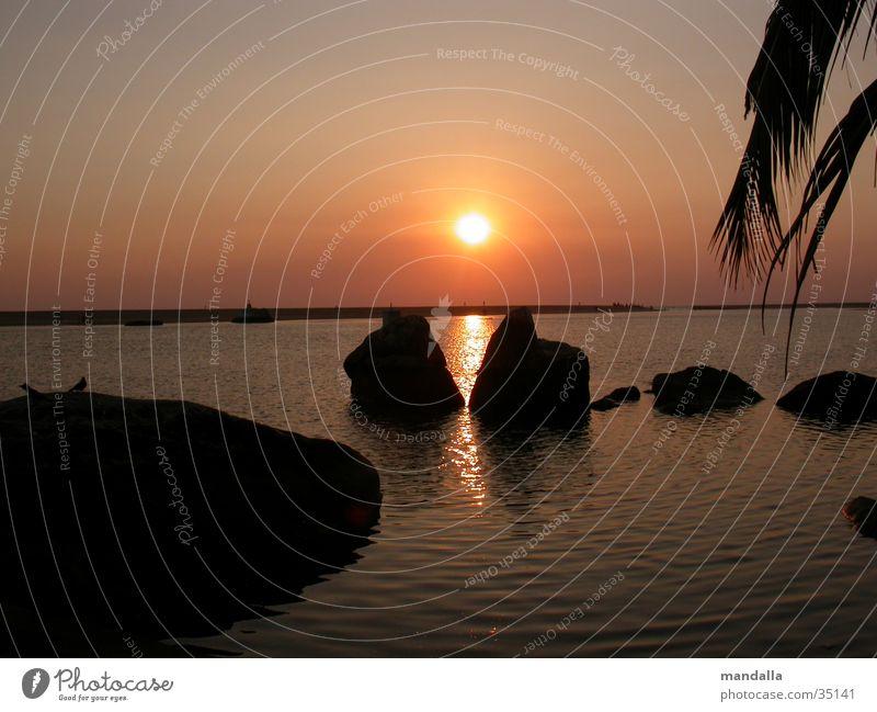 Sunset Kerala II Horizon Symmetry 2 Ocean Beach Calm Los Angeles Rock Water River Shadow Silhouette
