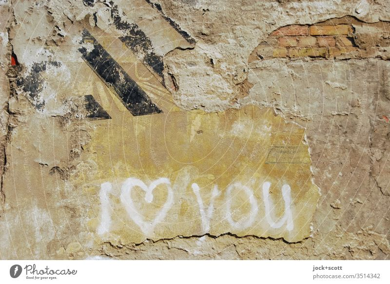 I love you the English way Wall (barrier) Ravages of time Daub Street art Subculture Emotions Infatuation Creativity Weathered Spray vowed to love Handwriting