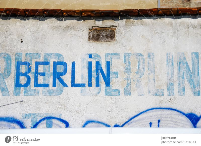 Attention to detail with fire wall Detail Transience Ravages of time Abstract Berlin Word Retro Stencil letters Weathered Change Style upper-case letters Facade