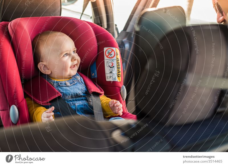 Father fasten his baby in car seat isofix LATCH child safety belt protection transportation vehicle family travel kid people happy caucasian boy lifestyle