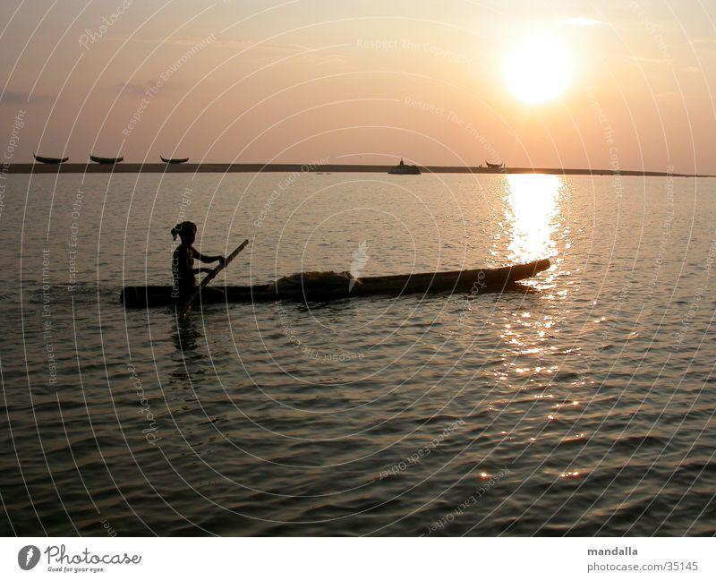 Sunset Kerala Fisherman Watercraft Twilight India Los Angeles River Movement Silhouette