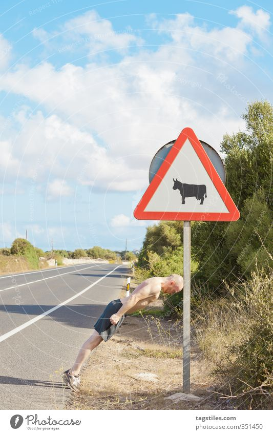 YOU WONNA RAM WIT´ME?! Road sign Man Fight Martial arts Bullfight Sign Balearic Islands Signs and labeling toro Spain Spanish Street Warning label Menorca