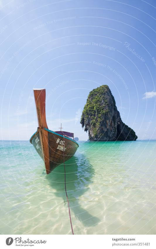 Summer at last! Thailand Krabi Phra Nang Phra Nang Beach Longboat Longtail Tradition Conventional Watercraft Rock Sand Ocean Asia Vacation & Travel