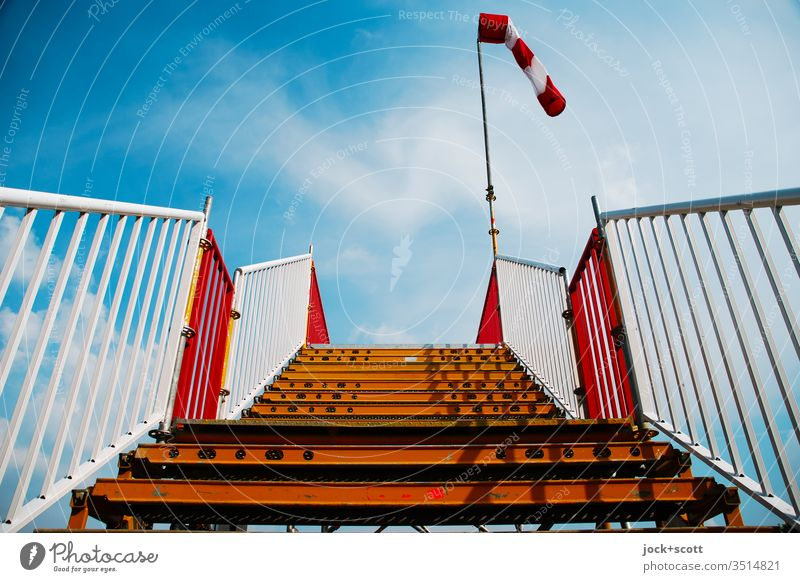 Stairs to heaven on a windless day Handrail Skyward Upward Shadow Windsock Level Platform Clouds wind force Wind direction Air speed meter Beautiful weather