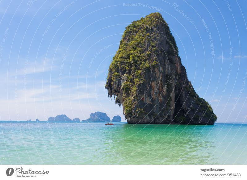Nature Vacation & Travel Ocean Landscape Beach Travel photography Rock Idyll Large Tourism Driving Asia Card Turquoise Whimsical Canoe