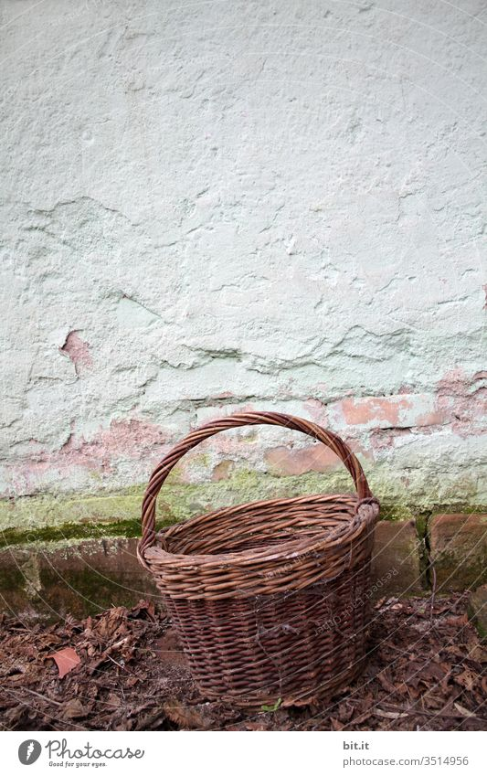 Old basket, in front of old wall Basket Containers and vessels Garden Wall (building) Retro Nostalgia Autumn Autumnal Harvest Empty Brown