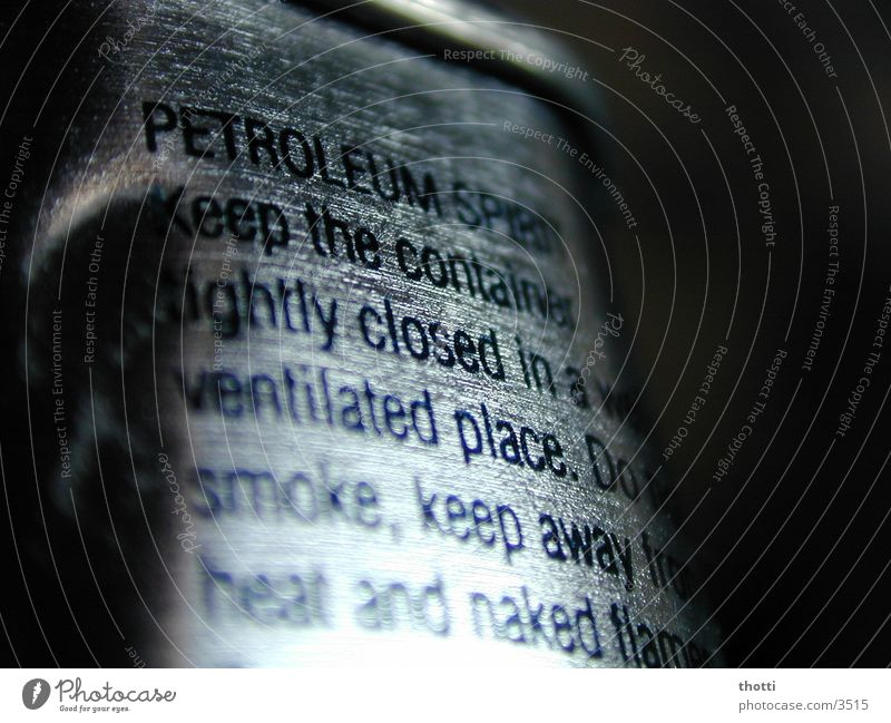 kerosene Typography Macro (Extreme close-up) Close-up Silver Characters lighter fuel