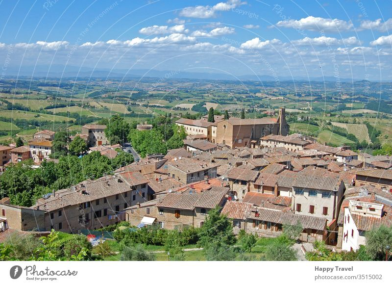 Aerial view of a small town in Tuscany, Italy, in a sunny day tuscany architecture italy romantic historical building landmark tourism travel renaissance