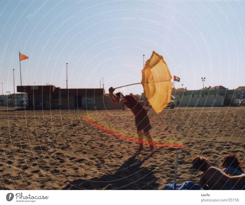 Human being Man Sun Summer Beach Sand Sunshade Rainbow