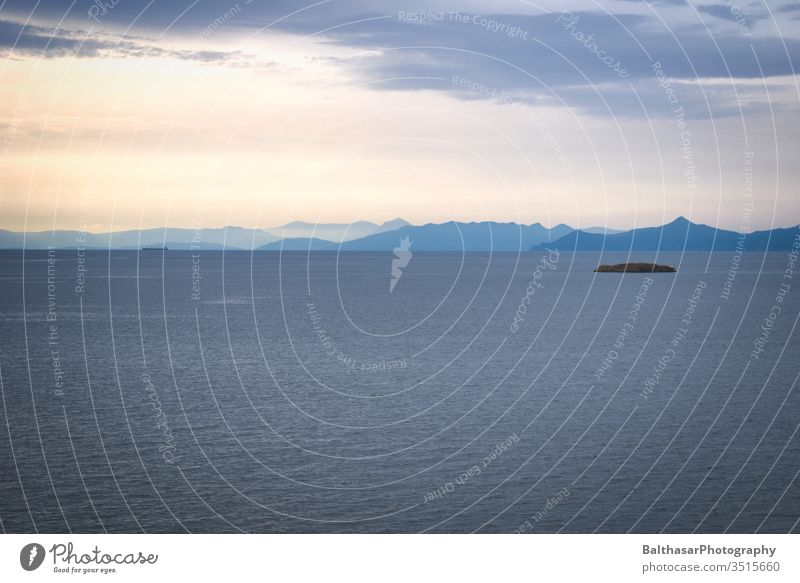 Sea - Horizon - Mountains Ocean Greece Europe Sunlight Clouds Mediterranean sea ägais Island mountains Silhouette Water conceit Movement Waves Light ship Blue