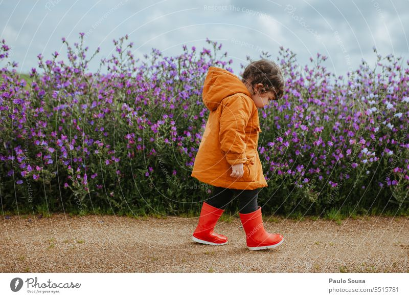 Child walking on flowers field Flower Spring Blossom Plant Nature Colour photo Exterior shot Spring flower spring flowers Flowering plant childhood Lifestyle