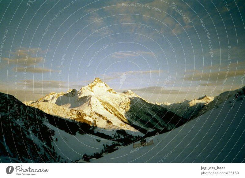 Alpine panorama 3 Clouds Sunbeam Mountain Sky Snow Shadow Valley