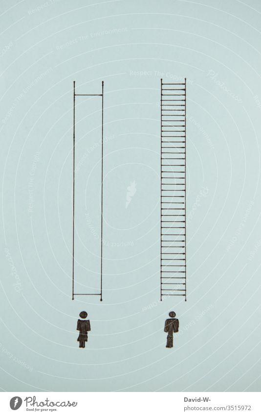 Men and women - discrimination & injustice Man Woman compromise unbalanced job Disadvantages visualization concept context Complain disequilibrium Inequity