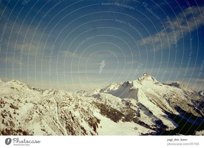 alpine panorama Clouds Tree Mountain Sky Snow Shadow Valley