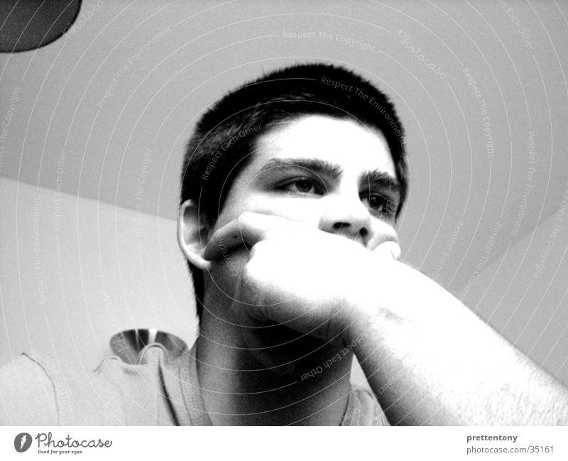 prettentony |01 Man Boredom Facial expression Gray scale value Black & white photo Perspective from below