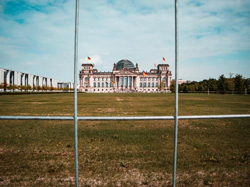 Impounded Reichstag Central perspective Deep depth of field Light Day Copy Space top Copy Space right Deserted Exterior shot Multicoloured Colour photo Past