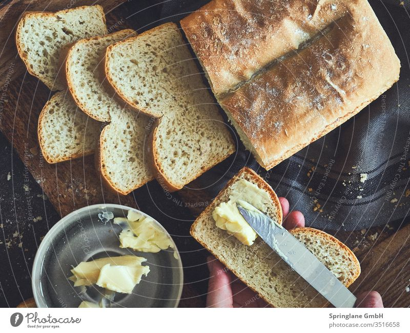White bread with butter Bread Butter BBQ Dinner snack homemade Baking food Food photograph Fresh Wheat Flour