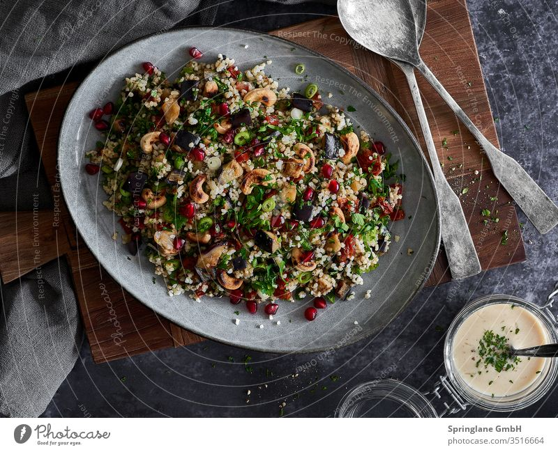 Bulgur salad with aubergine and pomegranate Lettuce Fresh fresh food foodie Pomegranate salubriously vegan veggie BBQ boil healthy cuisine Vegetarian diet Food