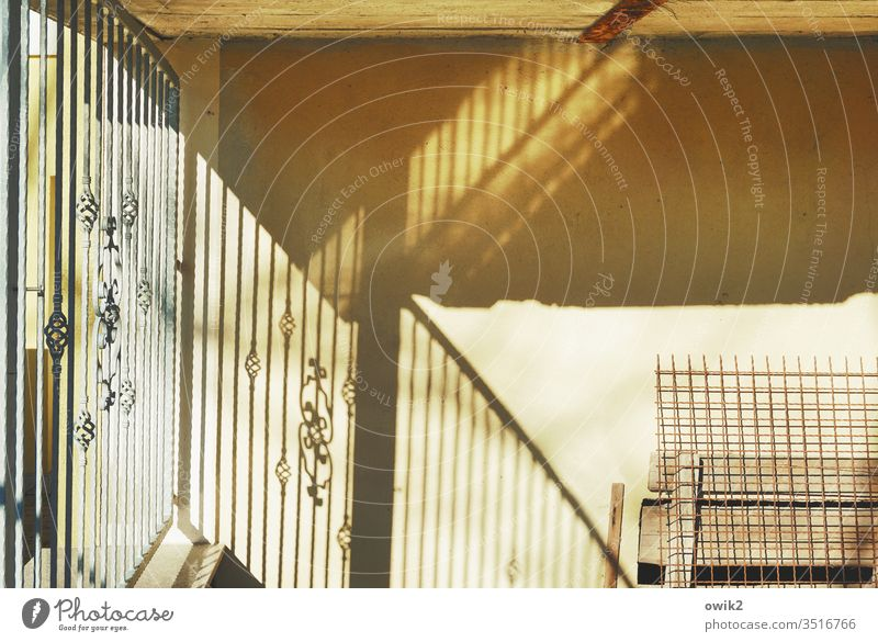 Small part Wall (building) Fence Metal Concrete Ornament Light Sunlight Light (Natural Phenomenon) Contrast Mysterious Corner Wall (barrier) Deserted