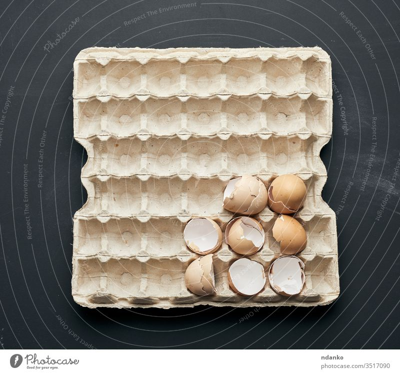 eggshell in a paper tray on a black wooden table farm feather food fragility broken background bird board breakfast brown chicken closeup cooking cuisine easter