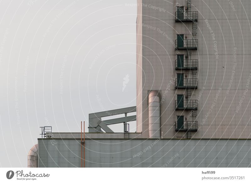 Soft sunlight on industrial facade Industry Scenery power station Energy industry Climate change Coal power station Exterior shot Chimney Industrial plant