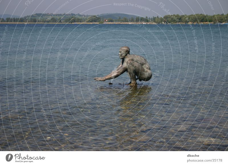 Man Water Statue Lake Constance Bronze Radolfzell