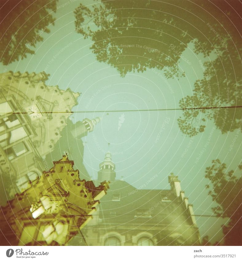 analogue double exposure of a row of houses, art nouveau house Facade Old outline Broken Transience Paper Vanished lost places torn down Double exposure Analog