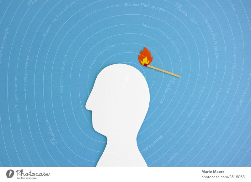 Light head | match with flame lights head silhouette of paper Fire Ignite Match Head thoughts Brain and nervous system ideas Right Inspiration Bad Dangerous