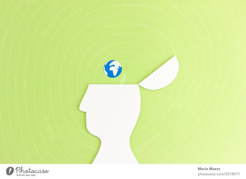 Thinking about climate | head silhouette with globe Earth sustainability Nature Responsibility Future Environment Climate Copy Space top Climate change