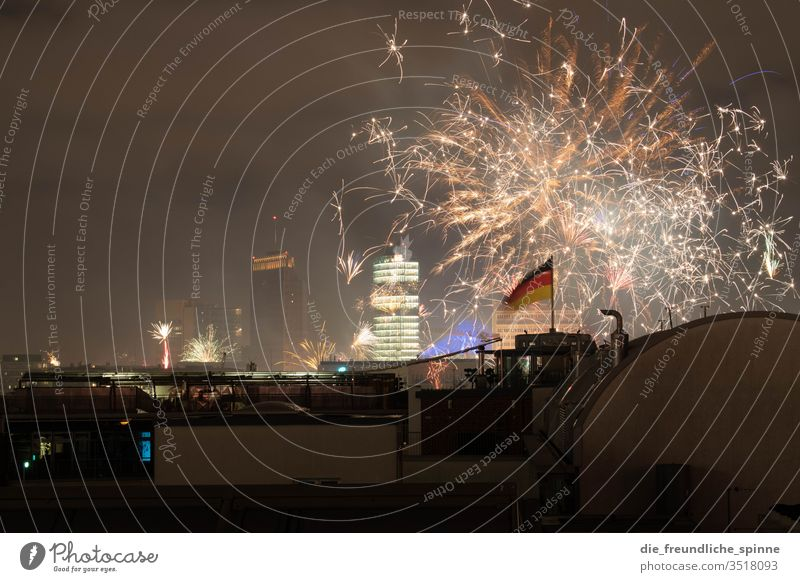 New Year's Eve at Potsdamer Platz railway tower Skyline Firecracker Berlin High-rise Architecture Night Capital city Long exposure Sony Center Berlin
