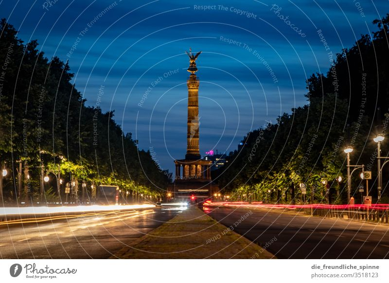 Victory column in the evening Berlin big star Tourist Attraction Capital city Monument Goldelse victory statue Victoria Berlin zoo Germany Figure Vantage point
