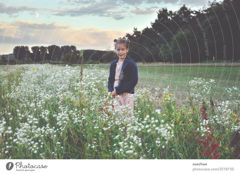 girl stands in a flower meadow in the nature Child Meadow Nature Flower meadow flowers Field acre in the country Landscape Summer spring Grass Exterior shot