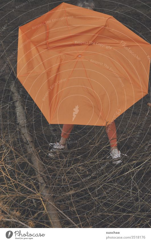 child is hiding behind a broken orange umbrella in the woods and only his feet are looking out ... Child Legs foot Umbrella Broken Branch tree Forest twigs