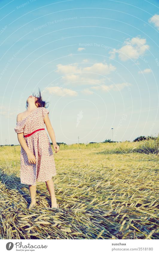 girl stands on a cornfield in the summer and throws her head cocky back ... Child Summer straw field Grain field Summer dress Free Joy Crazy Freedom Playing Sky