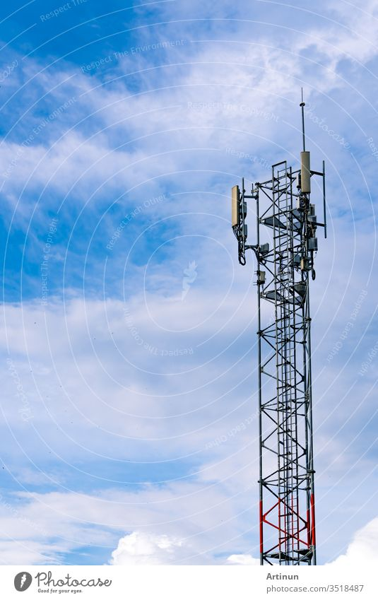 Telecommunication tower with clear blue sky background. Antenna on blue sky. Radio and satellite pole. Communication technology. Telecommunication industry. Mobile or telecom 4g network. Technology