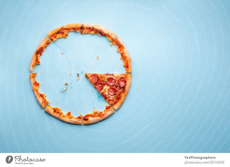 Last piece of pizza pepperoni on blue background circle comfort food crust cut out dinner eaten fast food fat finger food grease traces homemade hungry