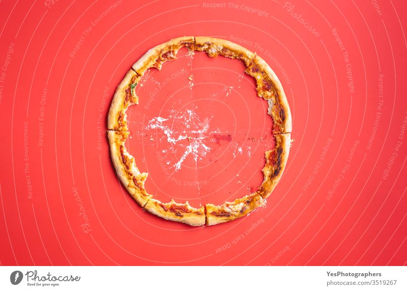 Pizza crust leftovers and crumbs top view. above view bakery comfort food cuisine cut out dinner fast food finger food flat lay gourmet ham pizza homemade