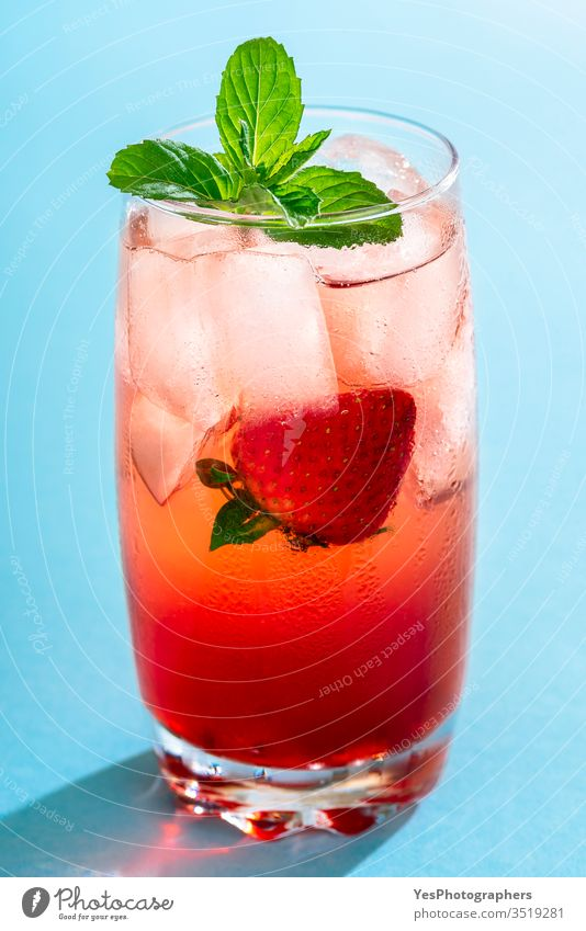Strawberry drink. One glass of strawberry lemonade. Summer cocktail beverage blue bright cold drink colorful delicious detox diet fluids fresh freshness frost