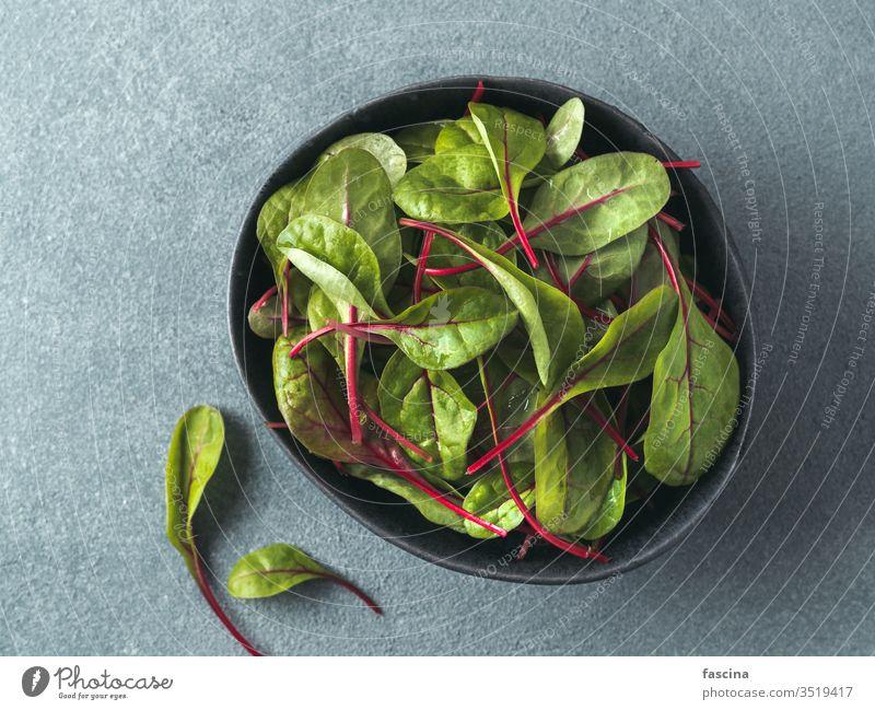 Fresh salad of green chard leaves or mangold beet salad leaves background top view food fresh organic plant vegetable leaf vegetarian swiss healthy red