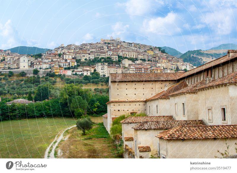 View of the town Padula from the Saint Lawrence Charterhouse Monastery carthusian charterhouse view hill cilento certosa san lorenzo Campania ancient