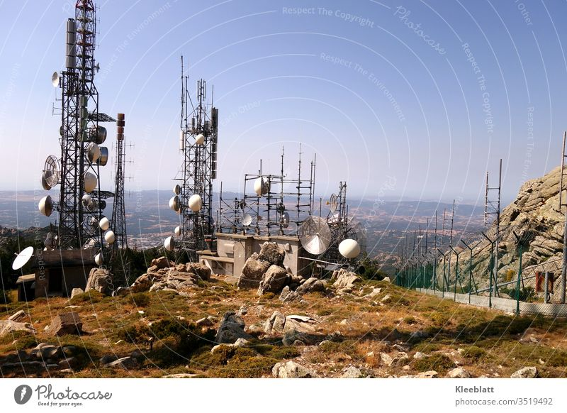 Antenna and transmission system on mountain plateau Transmitter and antenna system Mobile phone transmitter masts Television and radio station Satellite system