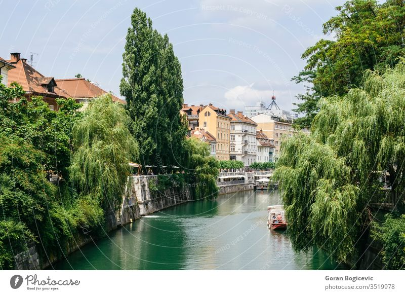 View at Ljubljanica river in Ljubljana, Slovenia architecture boat building capital center city cityscape day destination downtown embankment europe european