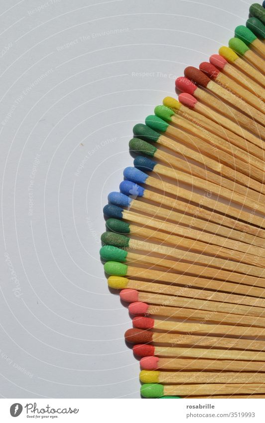 Matches with different coloured heads placed in a row on white background | colour combination matches Ignite Fire Collection Pattern open space variegated
