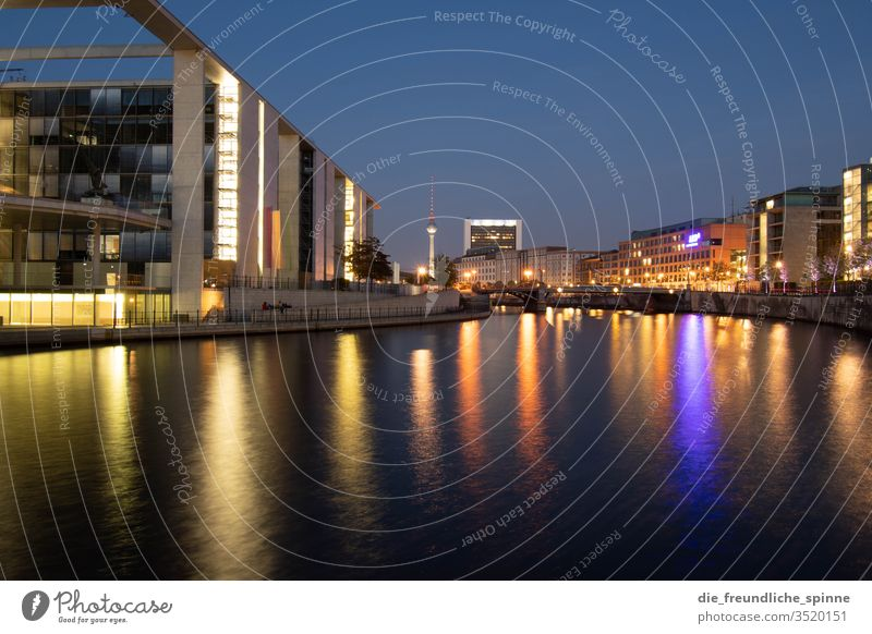 Government district at night Spree River Berlin Television tower government quarter Water Capital city Colour photo Exterior shot Town Architecture Deserted